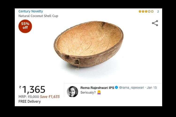 Half a coconut shell for Rs 1365 Amazons offer has buyers Twitter cant believe it