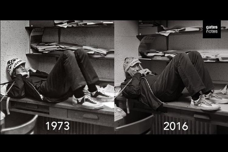 Bill Gates recreates his high school year photo for a Reddit AMA