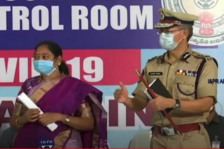 AP Home Minister M Sucharitha and DGP Guatam Sawang interact with media in Vijayawada