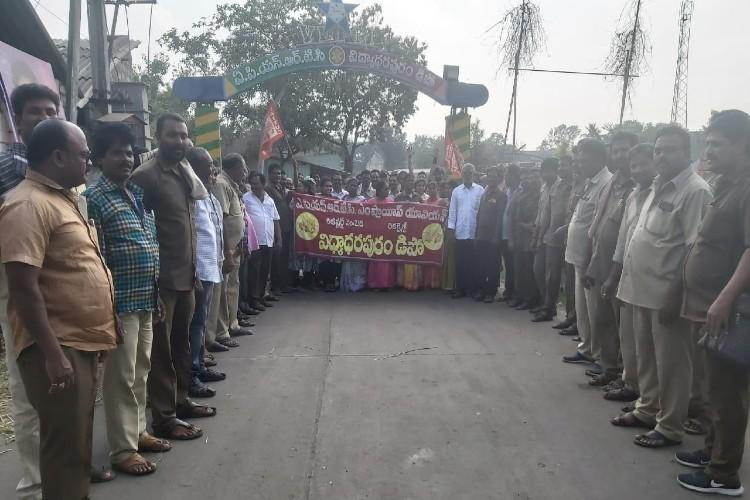 Less than a month after govt merger APSRTC employees hold two-day protest