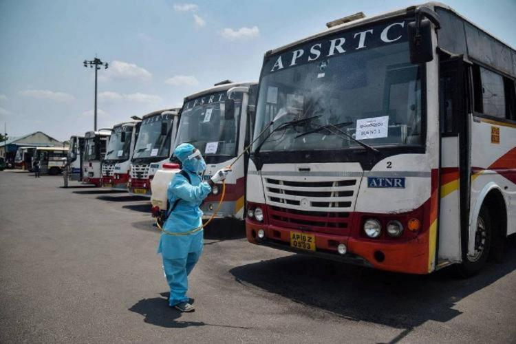 A fleet of APSRTC buses in the depot