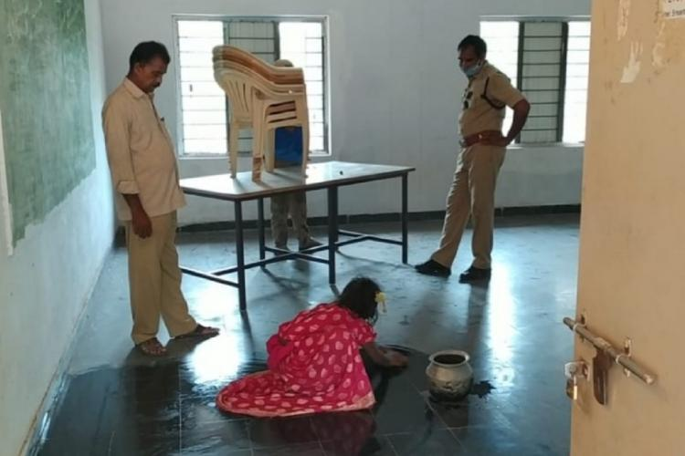 A child seen mopping the floor of a room in Andhra Pradesh