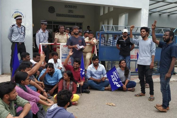 Students protest in University of Hyderabad alleging violation of reservation policy