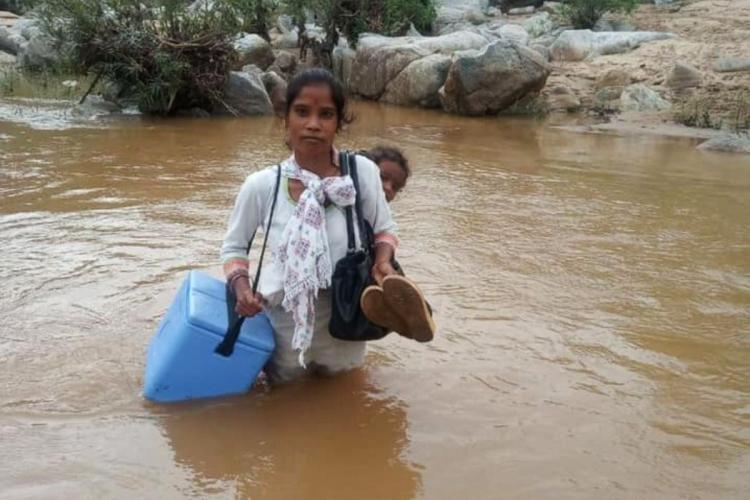 Lugging a vaccination box and carrying a child on her back, an ASHA worker on her way to vaccinate people, wades through a water stream
