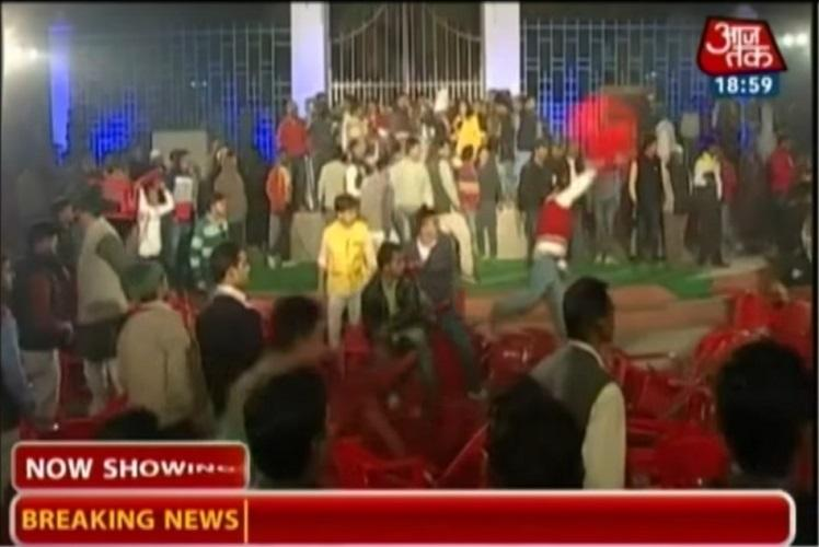 Accusations and chairs fly as scuffle breaks out at Aaj Tak show on demonetisation in Varanasi
