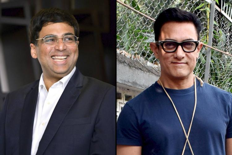 Vishwanathan Anand on the left and Aamir Khan on the right