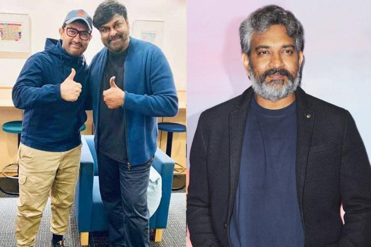 Aamir Khan and Chiranjeevi showing thumbs up sign on the left and Rajamouli on the right