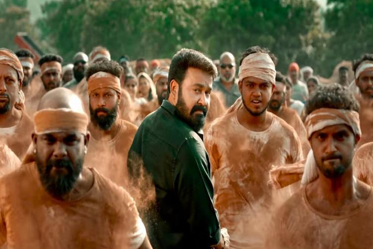 Mohanlal is seen in a black shirt and veshti in the teaser of Aaraattu