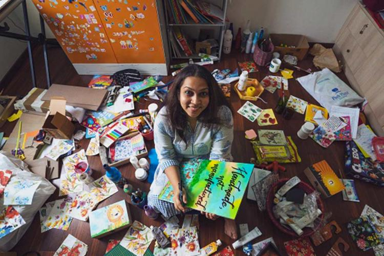 Aarthi Sivaramakrishnan of The Paper Company with her crafts