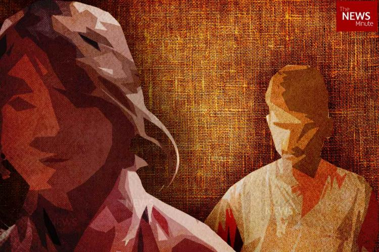 Representative image for abuse A man stands behind a woman