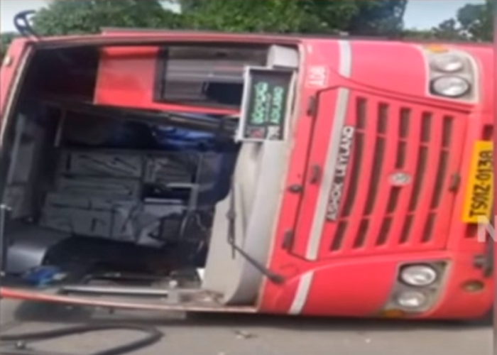 One killed as bus rams into parked car and topples over in Telangana
