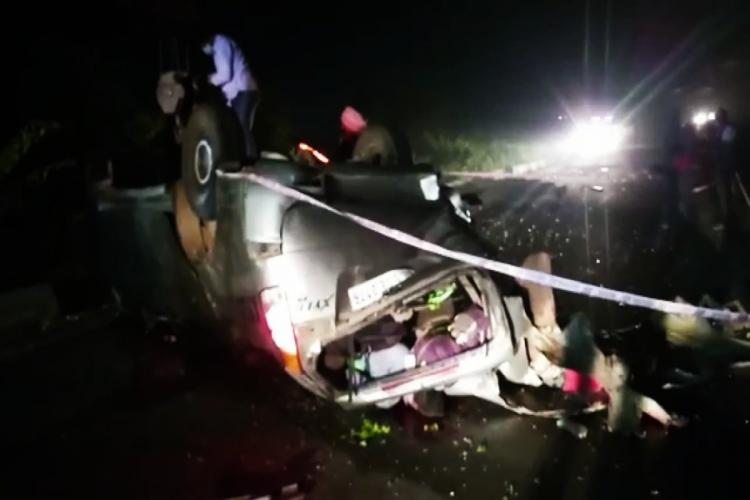 Vehicle at the scene of the accident