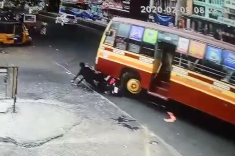 One killed as TN govt bus runs over two-wheeler tragic accident caught on CCTV