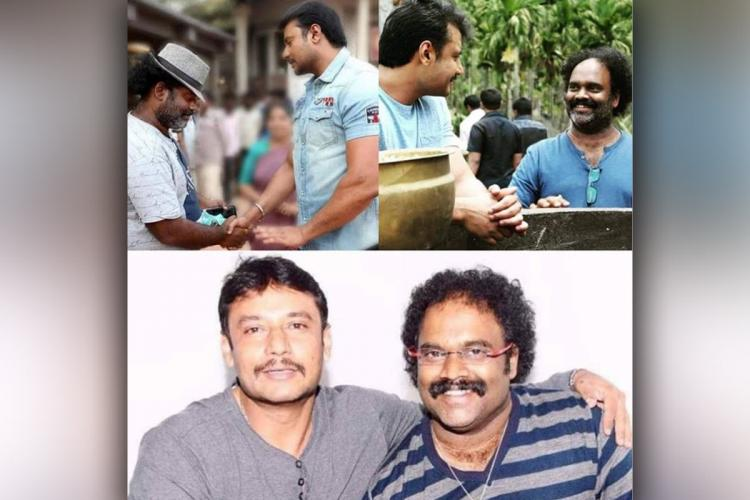 A collage of pictures including actor Darshan Thoogudeepa and music director V Harikrishna
