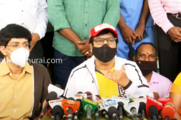 Actor Vivekh with J Radhakrishnan speaking to the media