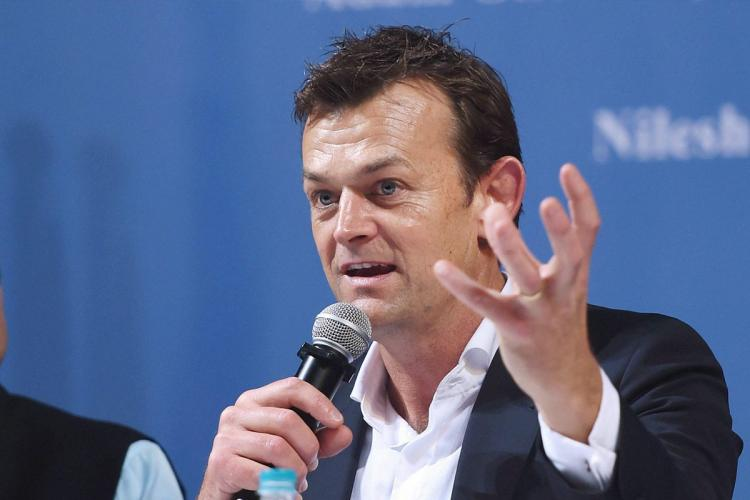 Adam Gilchrist addressing a press conference