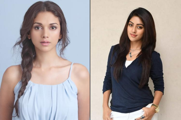 A collage of Aditi Rao Hydari in a light blue top and Anu Emmanuel in a navy blue top