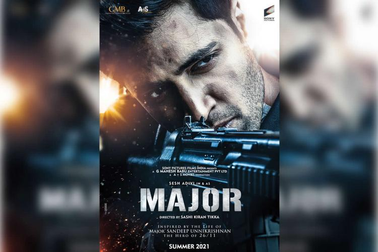 Poster showing Adivi Seshs first look from Telugu movie Major It shows a close-up of his face and a part of the gun he is holding and taking aim with