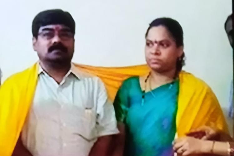 Vaman Rao and Nagamani posing for a photo