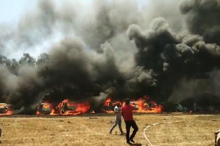 Massive fire at Bengaluru's Aero India show, 100 cars gutted