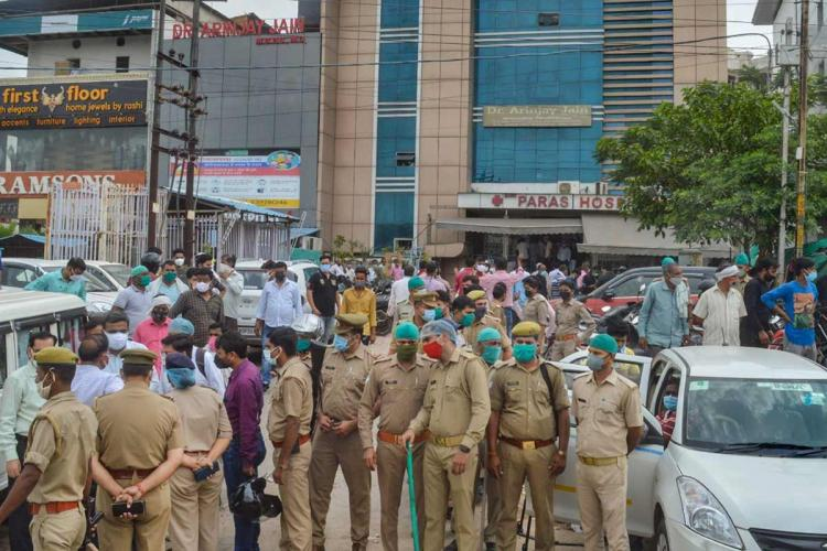 Police force deployed after many patients died during a mock drill at Paras hospital in Agra