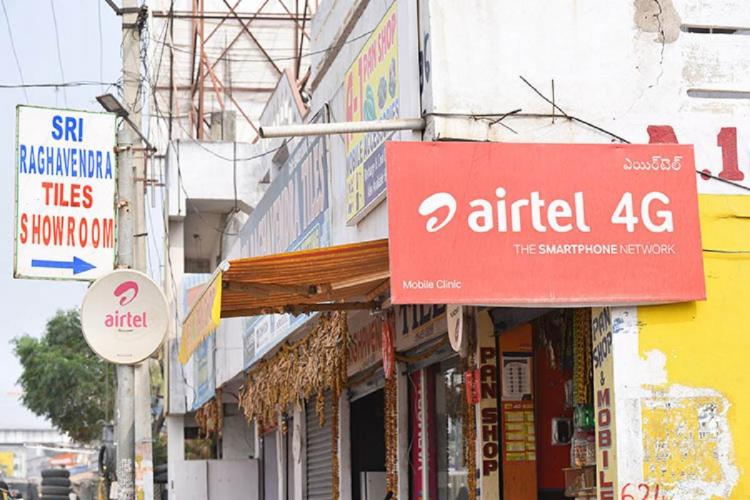 Airtel board in front of store picture taken in daylight