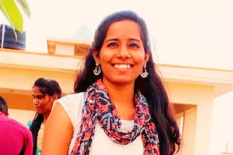 Aishwarya Reddy posing for a photograph at Lady Shri Ram College for Women Delhi