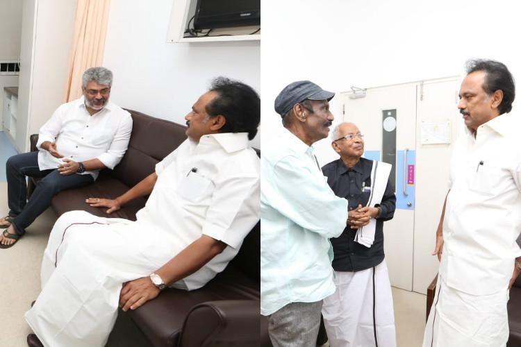 Actors Ajith and Goundamani visit Karunanidhi in Kauvery Hospital