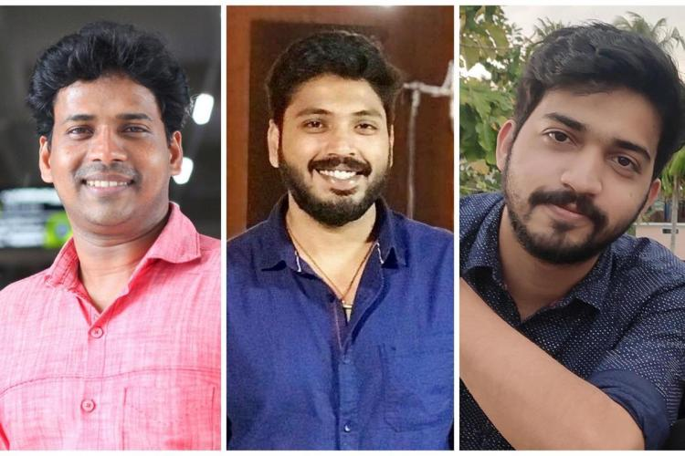 A collage of three men left one in a pink shirt the other two in shades of blue and having beards