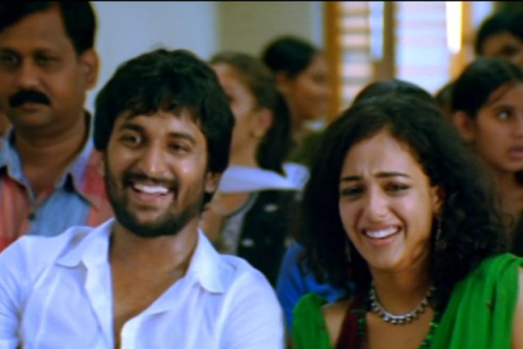 Nani and Nithya Menen in Ala Modalaindi sitting together and laughing