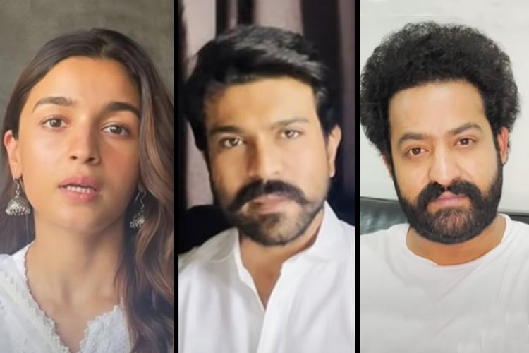 Actor Alia Bhatt is seen on the left actor Jr NTR on the right and actor Ram Charan in the center