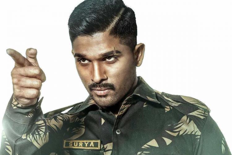 Actor Allu Arjun dressed as a soldier for his role in the Telugu movie Naa Peru Surya Naa Illu India