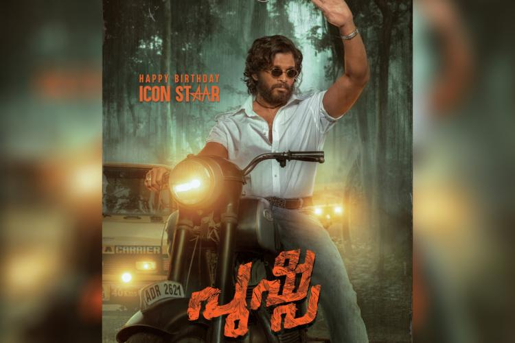 Allu Arjun is sporting a rugged look in the new poster posted by the makers of Pushpa