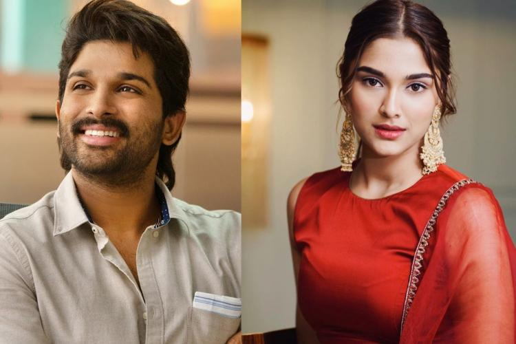 Allu Arjun on the left wearing a white shirt and Saiee Manjrekar on the right in a red dress