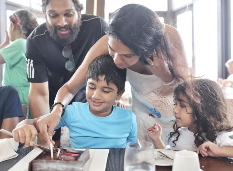 Allu Ayaan birthday celebrations in which Allu Arjun and his family were seen cutting a cake by wearing casuals