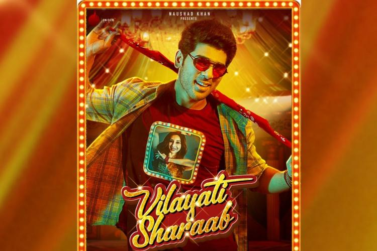 Allu Sirish wearing yellow shirt and a red T shirt in Vilayati Sharaab poster