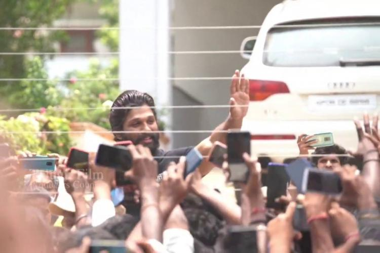 Allu Arjun greeting fans at his residence in Hyderabad on his birthday