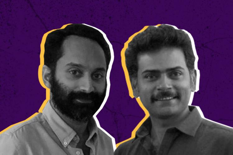 Bearded Fahadh and Alphonse are in black and white while the background of their collage is a deep violet