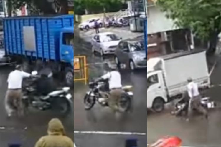 Video Traffic cop pushes constable off moving bike in Chennai complaint filed