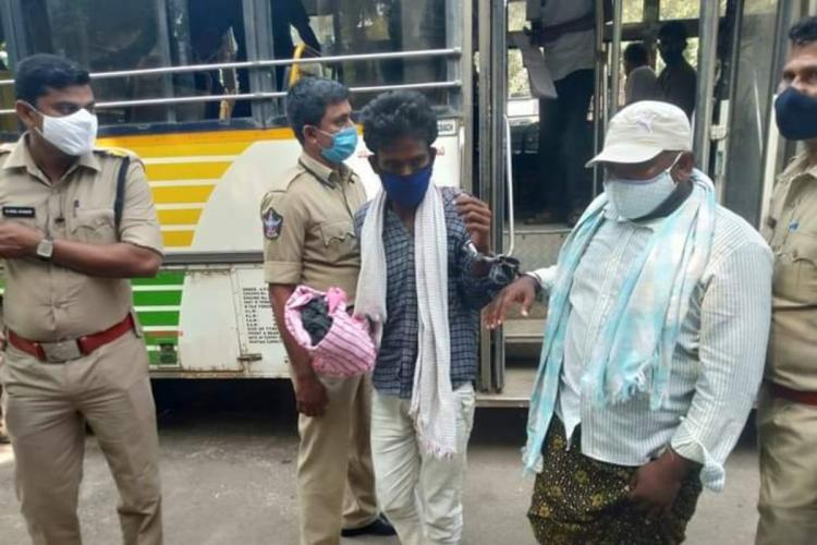 Amaravati farmers handcuffed while being shifted between jails surrounded by policemen