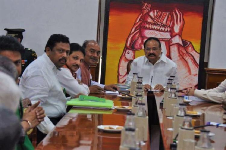 Amaravati row Farmers delegation meets VP Venkaiah Naidu seeks his intervention