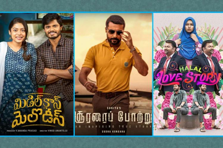 Poster collage of Soorarai Pottru, Halal Love Story, and Middle Class Melodies