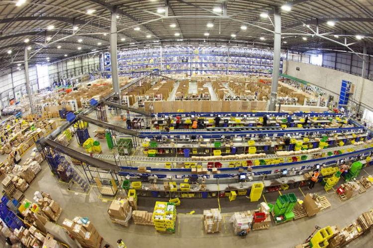 Amazon India Fulfillment Centre with goods