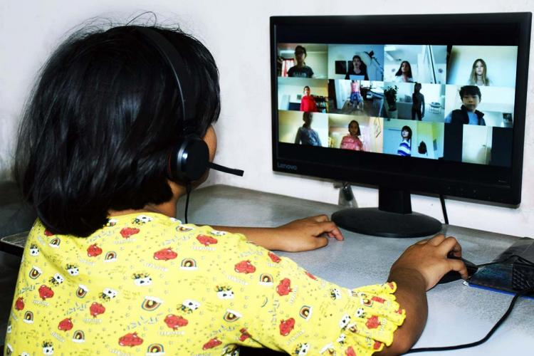 A child attending a class online amid the lockdown