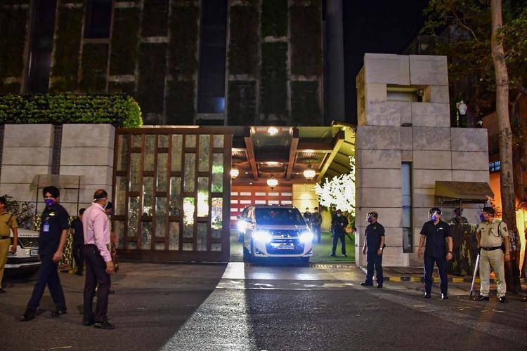 Front gate of Ambani residence Antilia in Mumbai