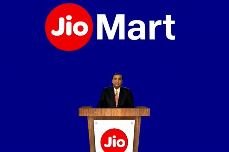 Reliance Industries Chairman Mukesh Ambani announcing plans on JioMart at 43rd AGM