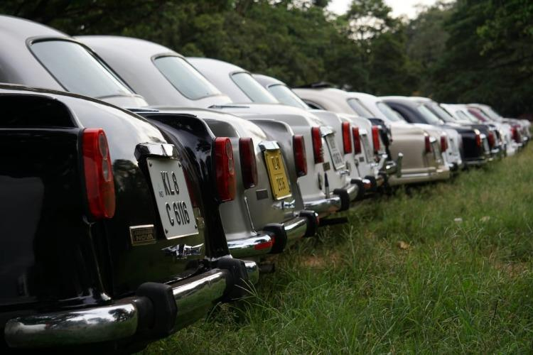 Ambassador cars parked in a row
