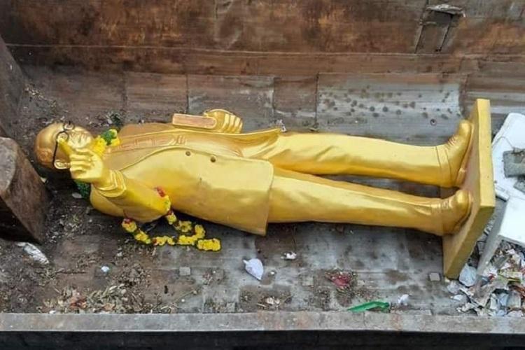 Ambedkar statue broken, dumped in garbage in Hyderabad