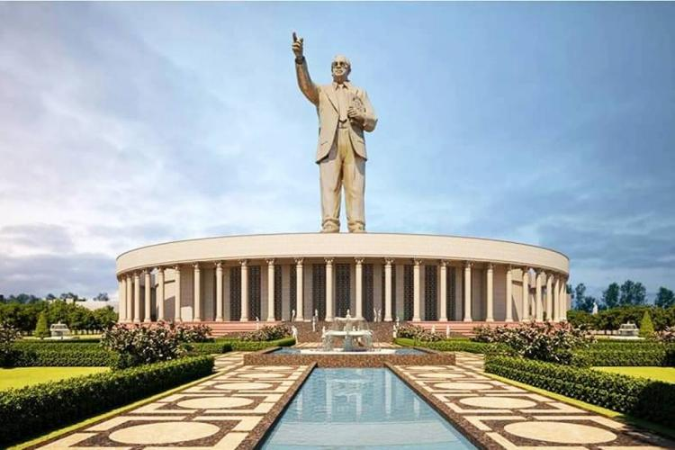 The final design of the Ambedkar statue that will be installed in Hyderabad