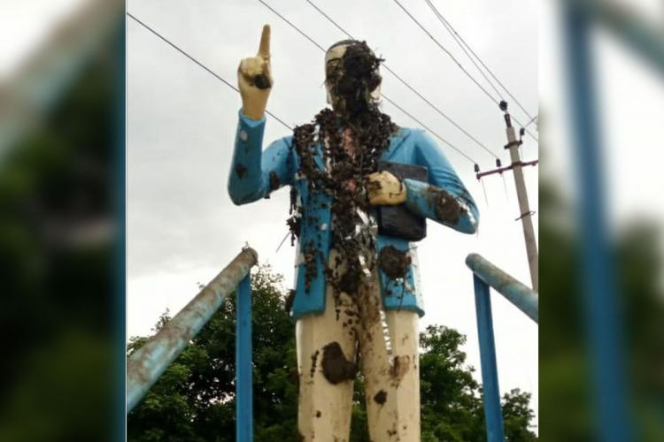 A statue of DR BR Ambredkar was defiled by miscreants in Telanganas Kamareddy district